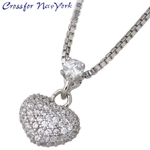 Crossfor 纽约 heart 银心项链