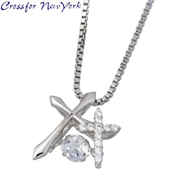 银 Crossfor NewYork 双十字架项链