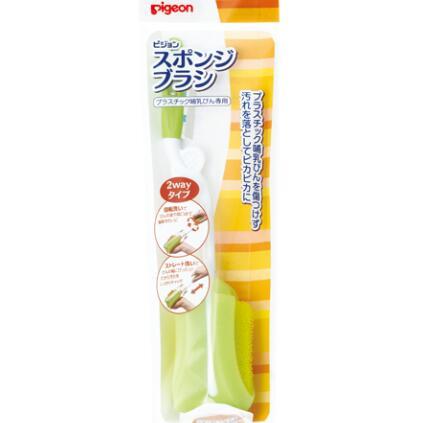 日本 贝亲(Pigeon)海绵奶瓶刷 旋转塑料柄 清洗刷 奶嘴刷 婴儿用品