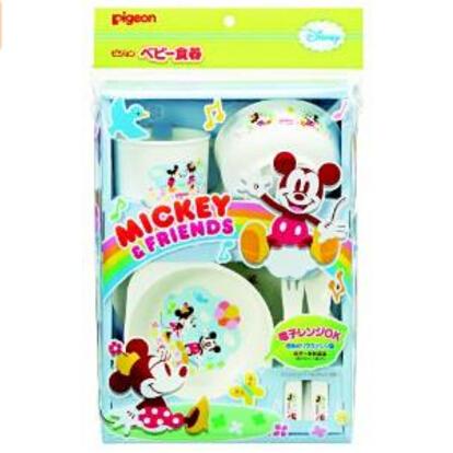 日本 贝亲(Pigeon)迪斯尼米奇 宝宝食器饭碗连餐具儿童套装M1