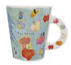 日本 Monseuil 创意马克杯 陶瓷 苹果花纹 4522202201215