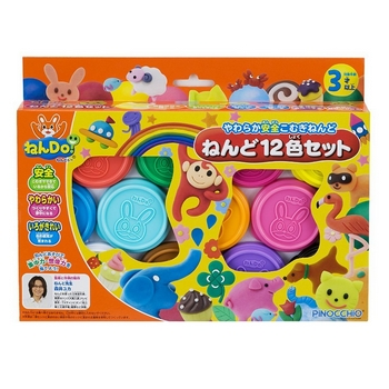 ねんDO! ねんど12色セット(新商品) ねんDO!12色儿童黏土 PINOCCHIO小麦粘土儿童橡皮泥12色彩泥